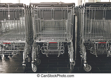 Shopping carts in a supermarket.