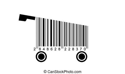 shopping carts made from barcode. concept of shopping
