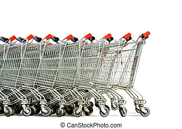 shopping carts - row of shopping trolley isolated over white...