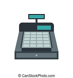 Shopping cash register icon, flat style
