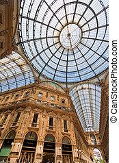 galleria vittorio emanuele in milan, italy - shopping center...