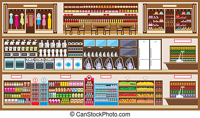 Shopping center in a cut - Vector illustration. It is...