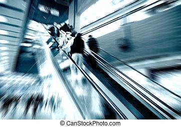Shopping center rush - Shopping center, escalator people...
