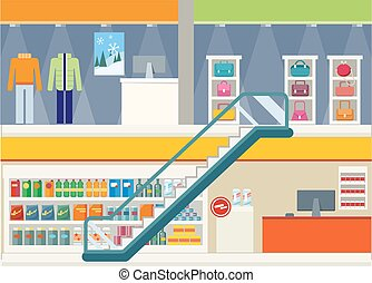 Shopping Center Storefronts Design Flat