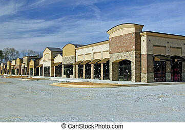 This is a suburban shopping center nearing completion.