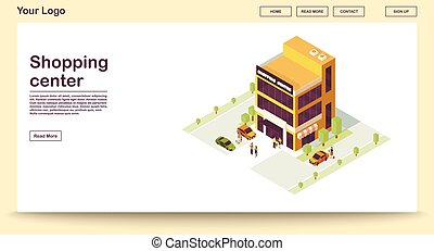 Shopping center webpage vector template with isometric illustration