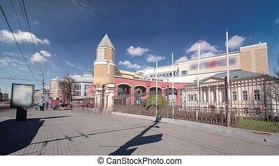 Shopping centre and cars on Zemlyanoy Val street, Sadovoye ring in Moscow timelapse hyperlapse