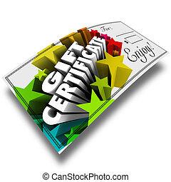 shopping, certificado presente, papel, comprovante, loja