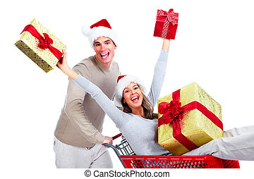 Shopping Christmas couple.