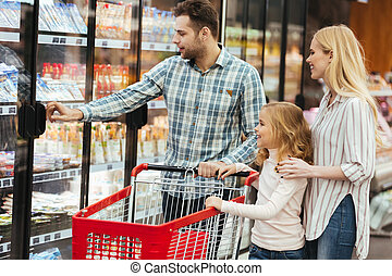 shopping, cibo famiglia, carrello, bambino, acquisto, felice