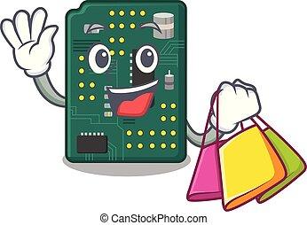 Shopping circuit board pcb in cartoon shape vector...