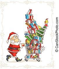 shopping, claus, carrello, vettore, santa, cartone animato