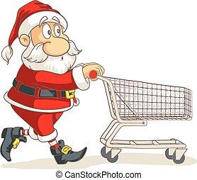 shopping, claus, carrello, vettore, santa, cartone animato, vuoto