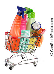 Shopping cleaning supplies - Cleaning equipment in a modell...