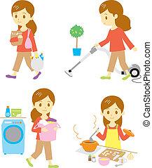 shopping, cleaning, washing, cooking, woman, set