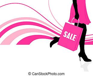 Closeup view of a woman holding shopping bag