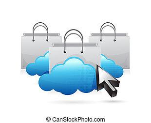 shopping cloud concept illustration design
