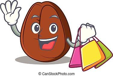 Shopping coffee bean character cartoon