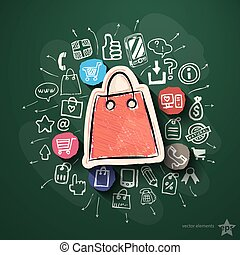 Shopping collage with icons on blackboard