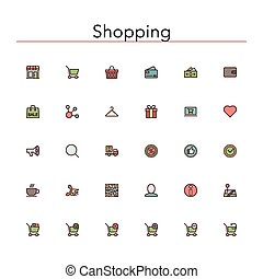 Shopping Colored Line Icons - Shopping and sale colored line...