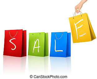 Shopping colorful bags with SALE on them. Concept of discount. Vector illustration.