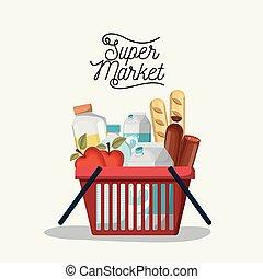 shopping, colorito, manifesto, supermercato, cibi, cesto, bibite