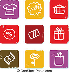 Shopping, commercial and sale doodle retro icon