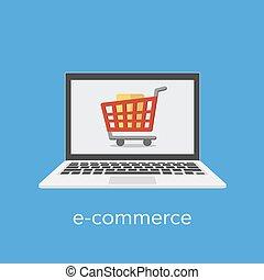 shopping, commercio, e, carrello, concetto, laptop, screen.