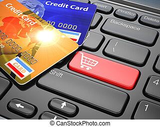 shopping., computador portatil, credito, e-commerce., en línea, keyboard., tarjeta