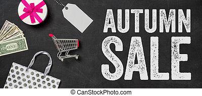 Shopping concept - Autumn Sale written on a blackboard