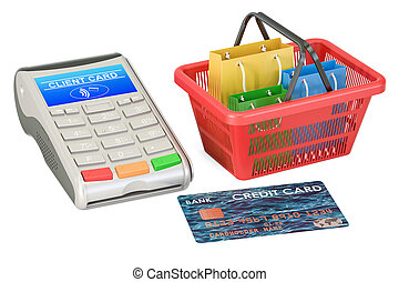 Shopping concept. POS-terminal with credit card and shopping basket with shopping bags, 3D rendering