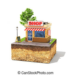 Shopping concept. Shop on a piece of sliced ground with tree...