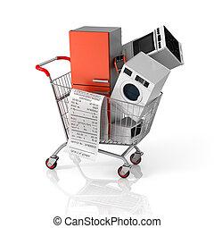 shopping, concept., vendite, grande, cart., apparecchi, casa...