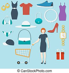 Shopping concept with flat icons and women with trolley. Vector illustration