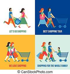 shopping, concetto, disegno, persone