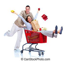 shopping, coppia.
