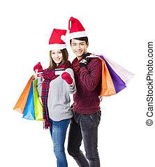 shopping, coppia, insieme, indossare, natale, felice