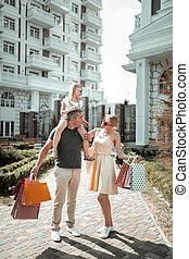 shopping., coppia, secondo, loro, andare, bambino, casa, sposato