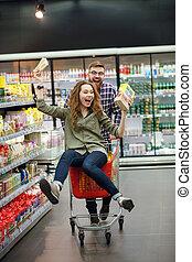 shopping, coppia, supermercato, carrello, divertimento, detenere