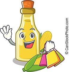 Shopping corn oil put into cartoon bottle