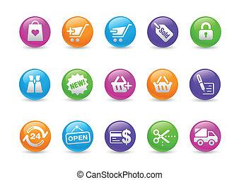 shopping correia fotorreceptora, ícones, /, arco íris