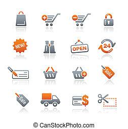 shopping correia fotorreceptora, ícones, /, grafita