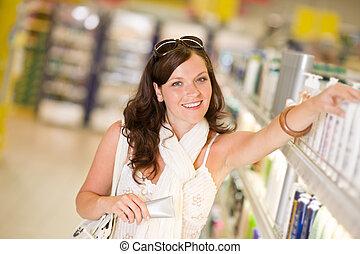 shopping, cosméticos, -, mulher, com, moisturizer