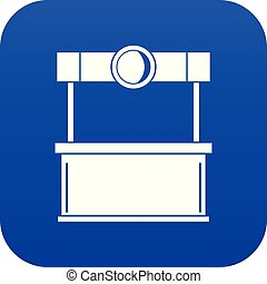 Shopping counter icon digital blue