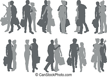 Shopping couple silhouettes
