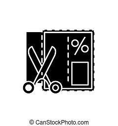 Shopping coupon black icon, vector sign on isolated background. Shopping coupon concept symbol, illustration
