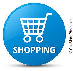 Shopping cyan blue round button