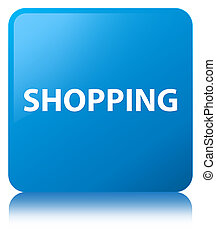 Shopping cyan blue square button