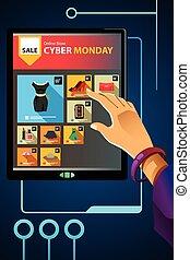 shopping, cyber, vendita, lunedì, linea