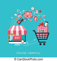 shopping, desenho, online, apartamento, conceito